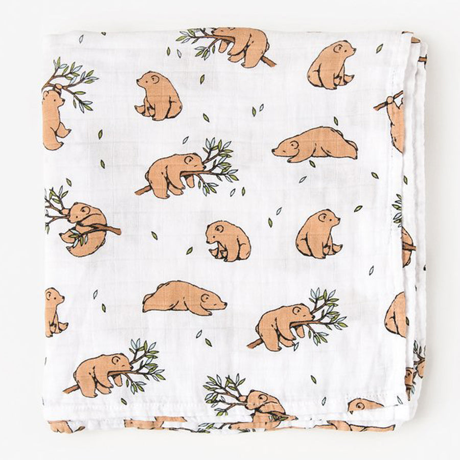 Little Blue Nest Organic Cotton Muslin Swaddle Blanket - Bear Cub