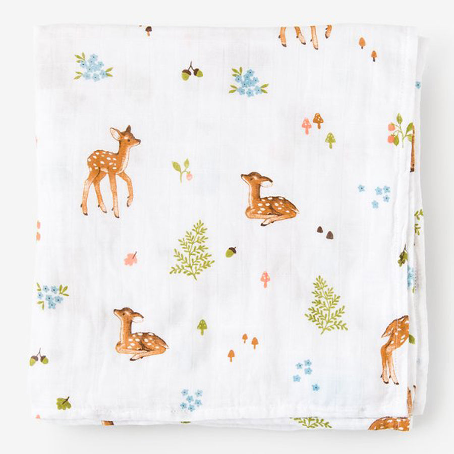 Little Blue Nest Organic Cotton Muslin Swaddle Blanket - Fawn