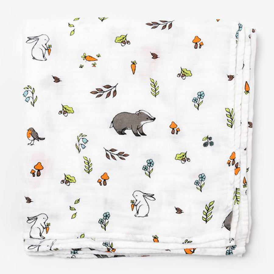 Little Blue Nest Organic Cotton Muslin Swaddle Blanket - Into the Woods