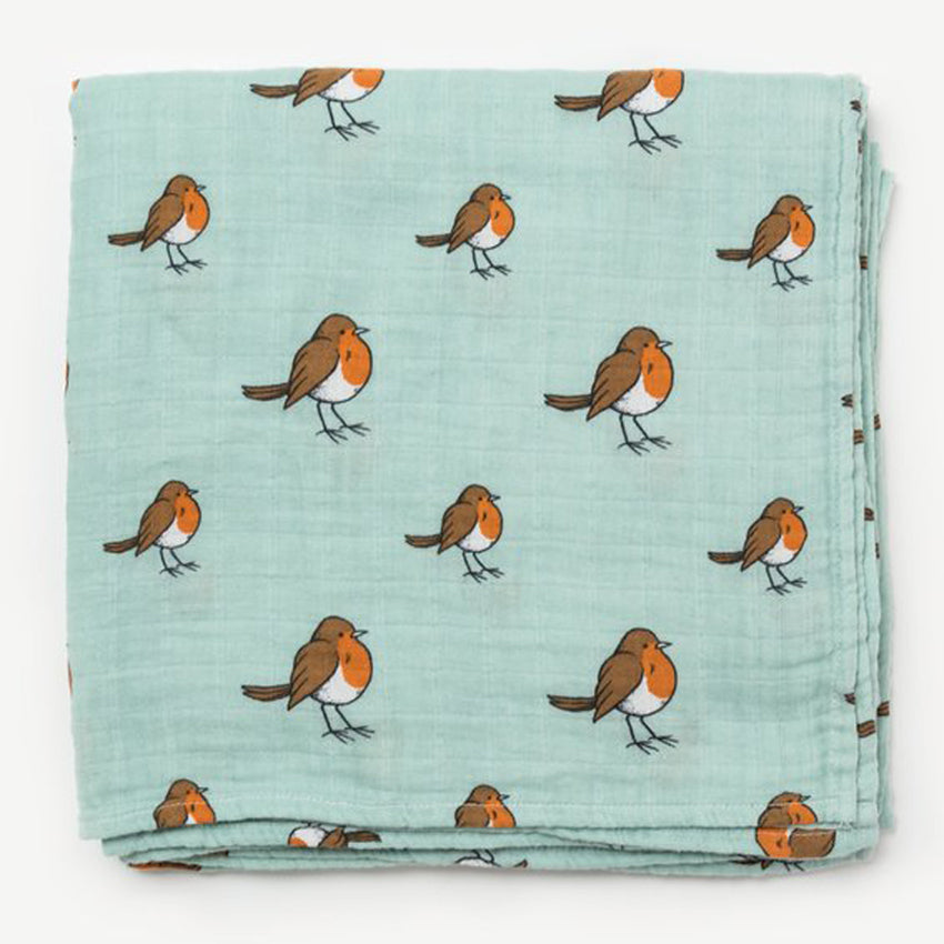 Little Blue Nest Organic Cotton Muslin Swaddle Blanket - Little Robin