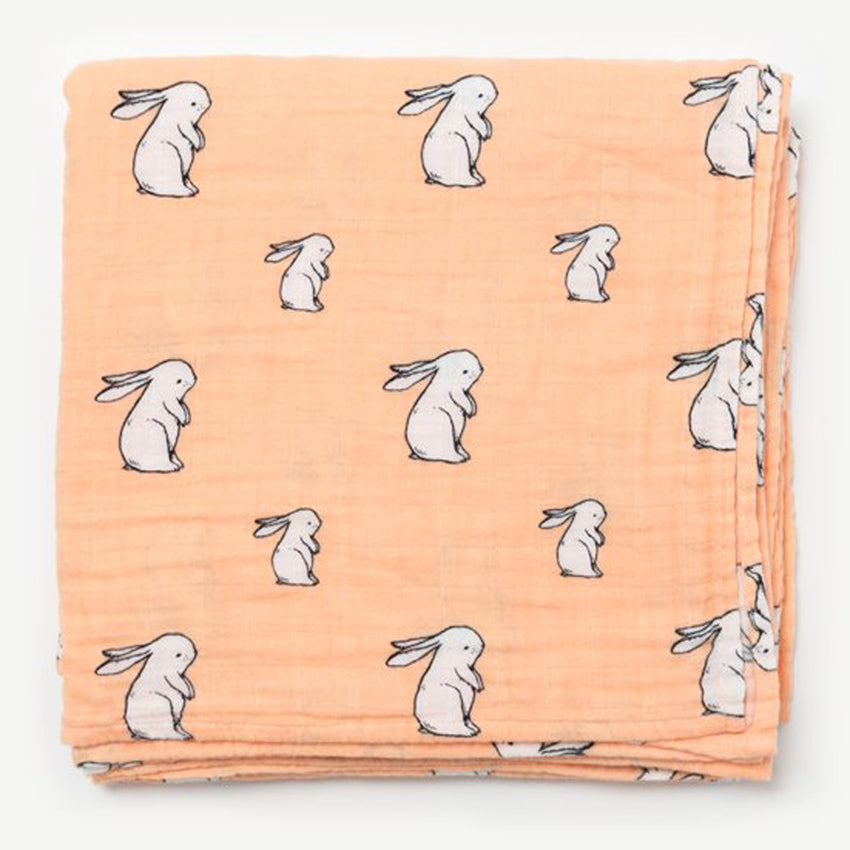 Little Blue Nest Organic Cotton Muslin Swaddle Blanket - Long Ear Bunny