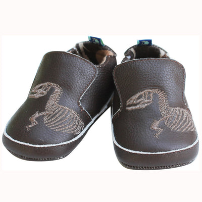 Kickee Pants Leather Soft Sole Shoes T-Rex Dig Embroidery Bark