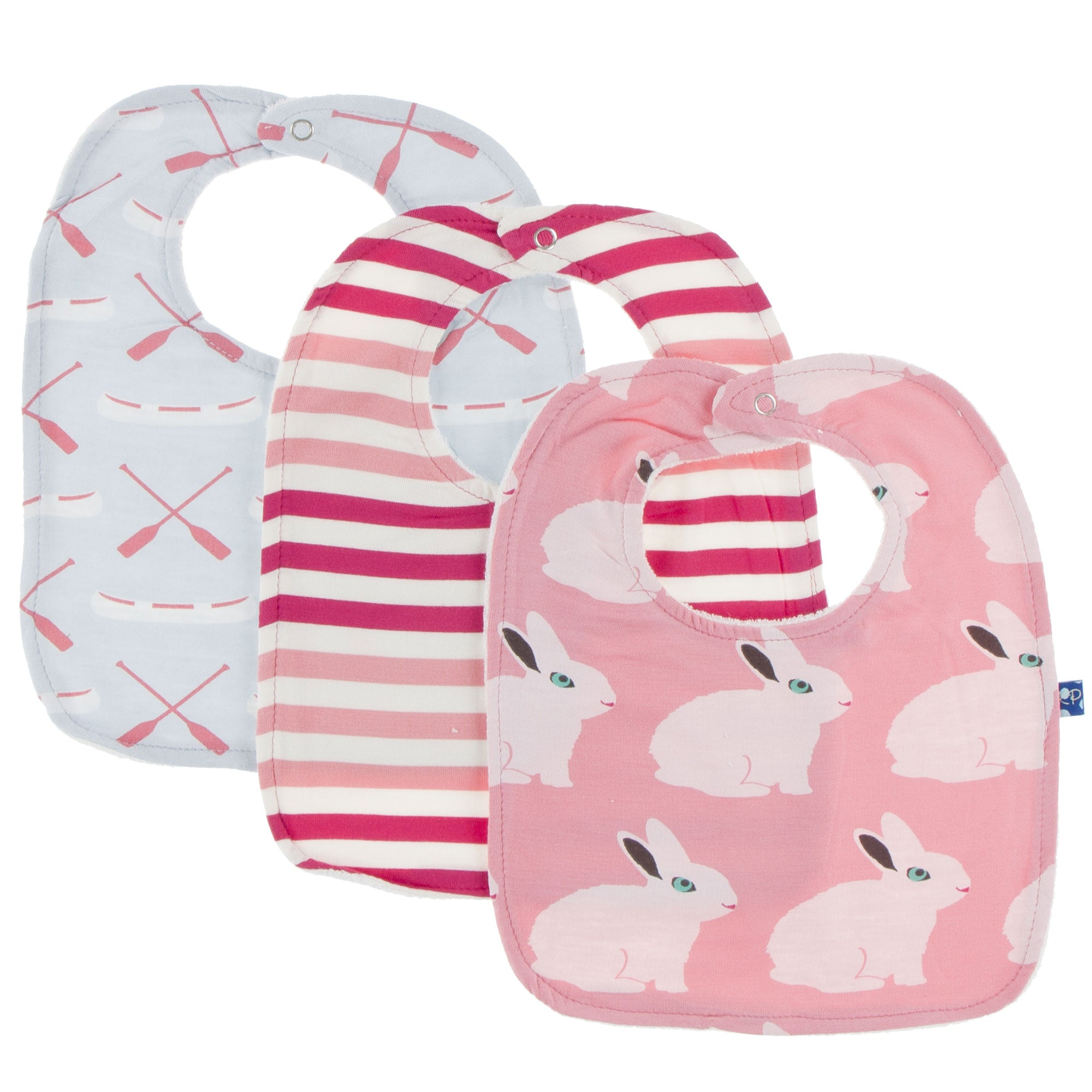 KicKee Pants Bib Set - Dew Paddles and Canoe, Forest Fruit Stripe