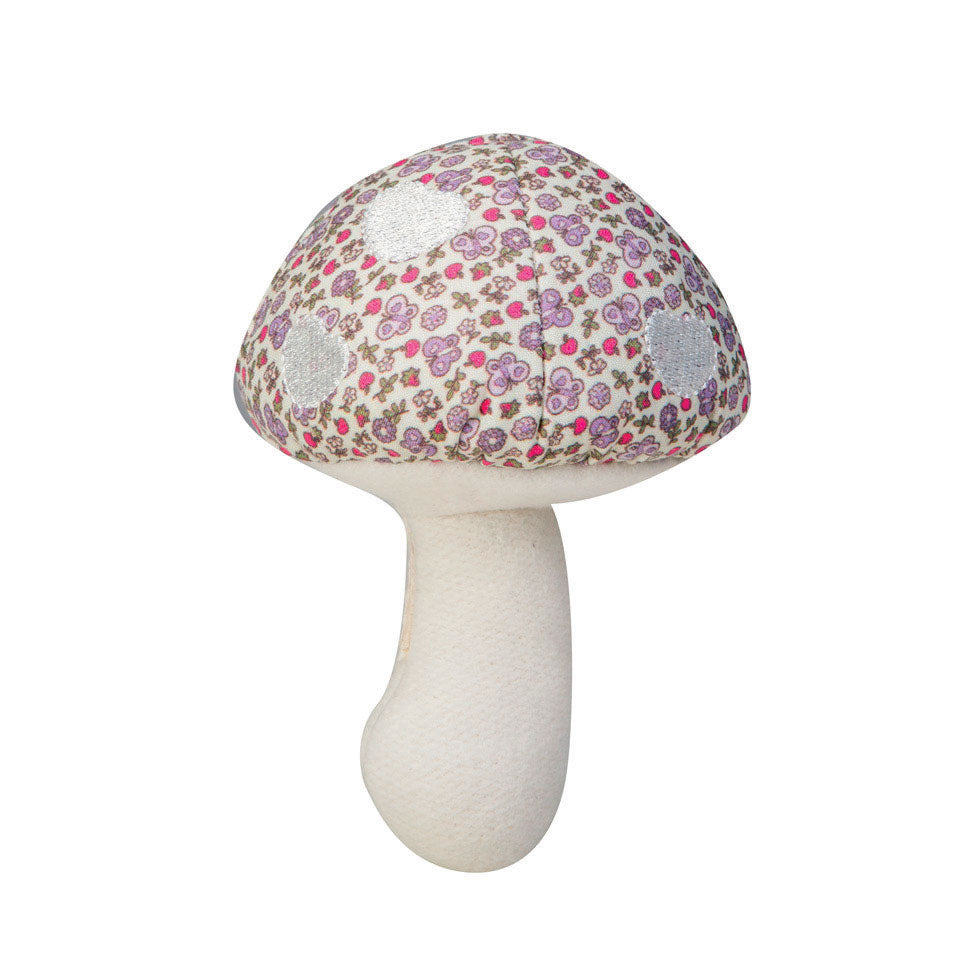 Apple Park Organic Cotton Mushroom Rattle Purple Garden