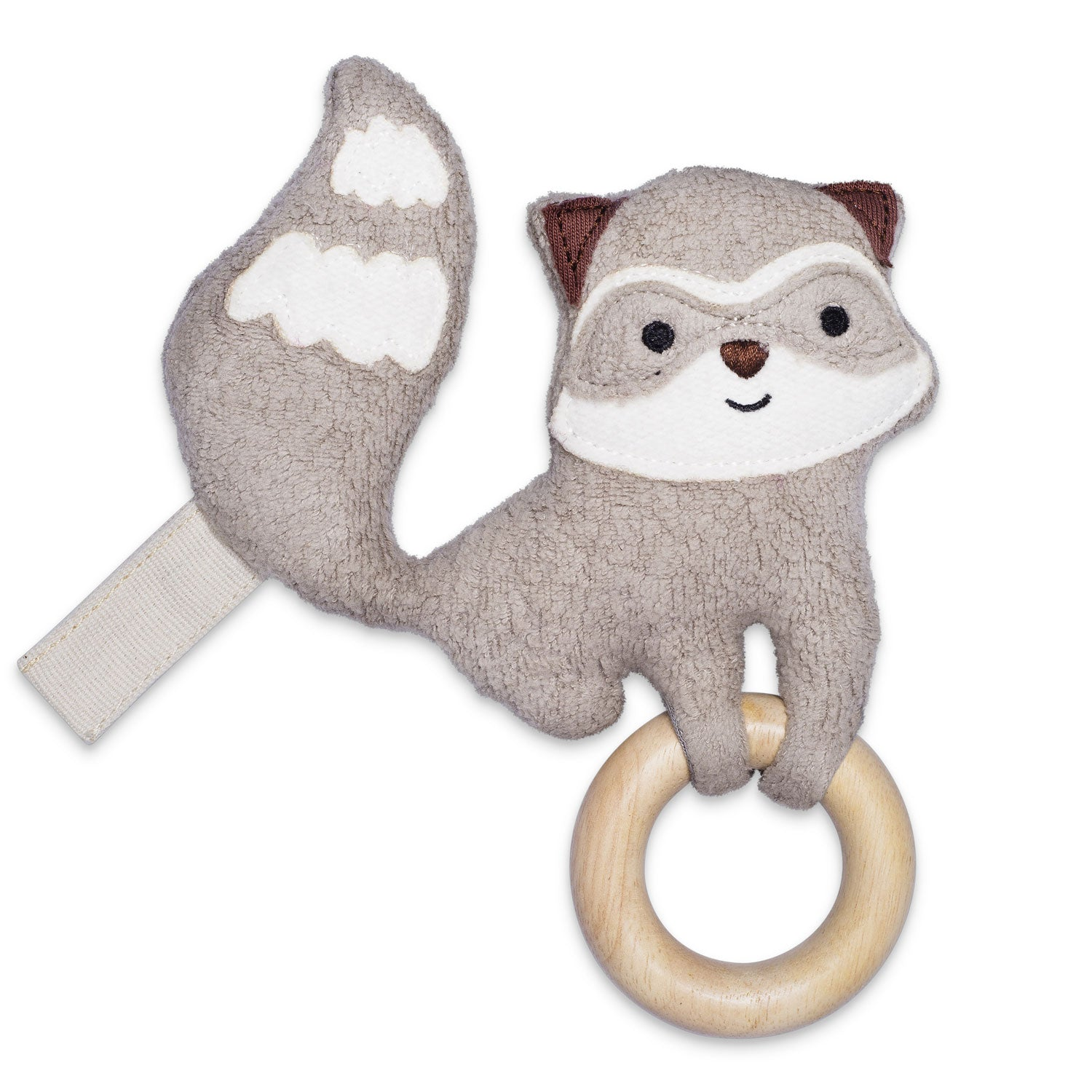 Apple Park Organic Cotton Plush Teething Toy Raccoon