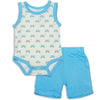 Silkberry Baby Bamboo Tank Bodysuit & Short Set Sunset Cruising
