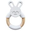 Loulou Lollipop Silicone and Wood Teether - Gray Bunny