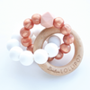 Loulou Lollipop Trinity Silicone and Wood Teether Rose Gold