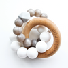 Loulou Lollipop Trinity Silicone and Wood Teether Smoky Quartz