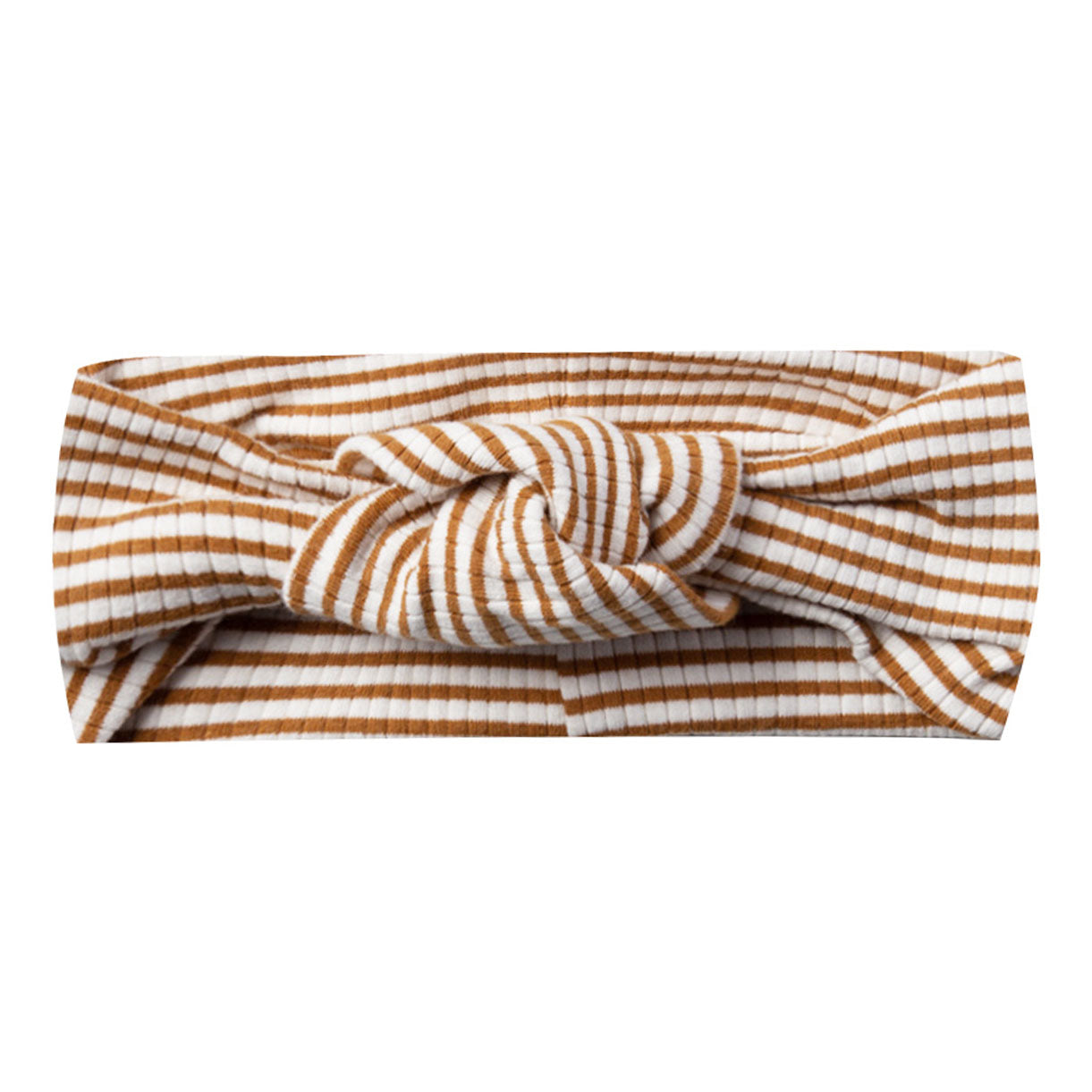 Quincy Mae Organic Ribbed Turban Walnut Stripe