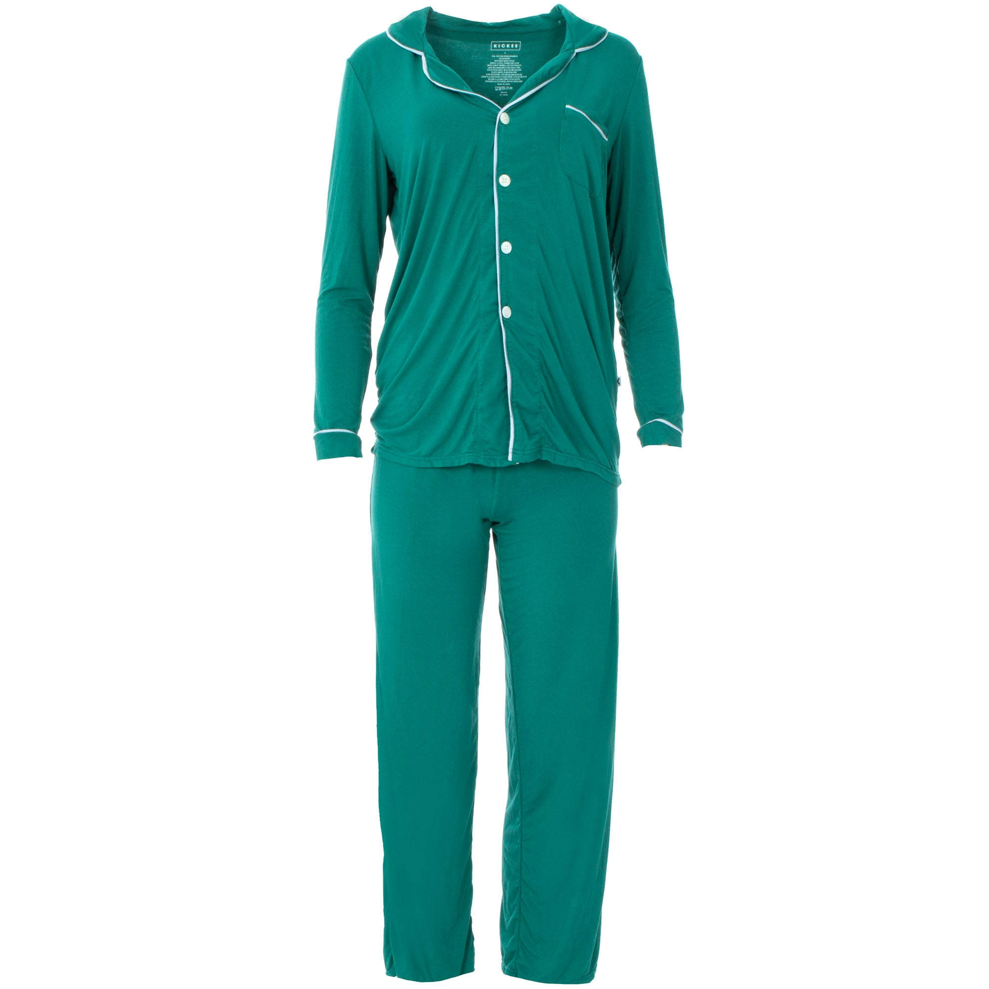 KicKee Pants Womens Collared Pajama Set - Ivy with Frost