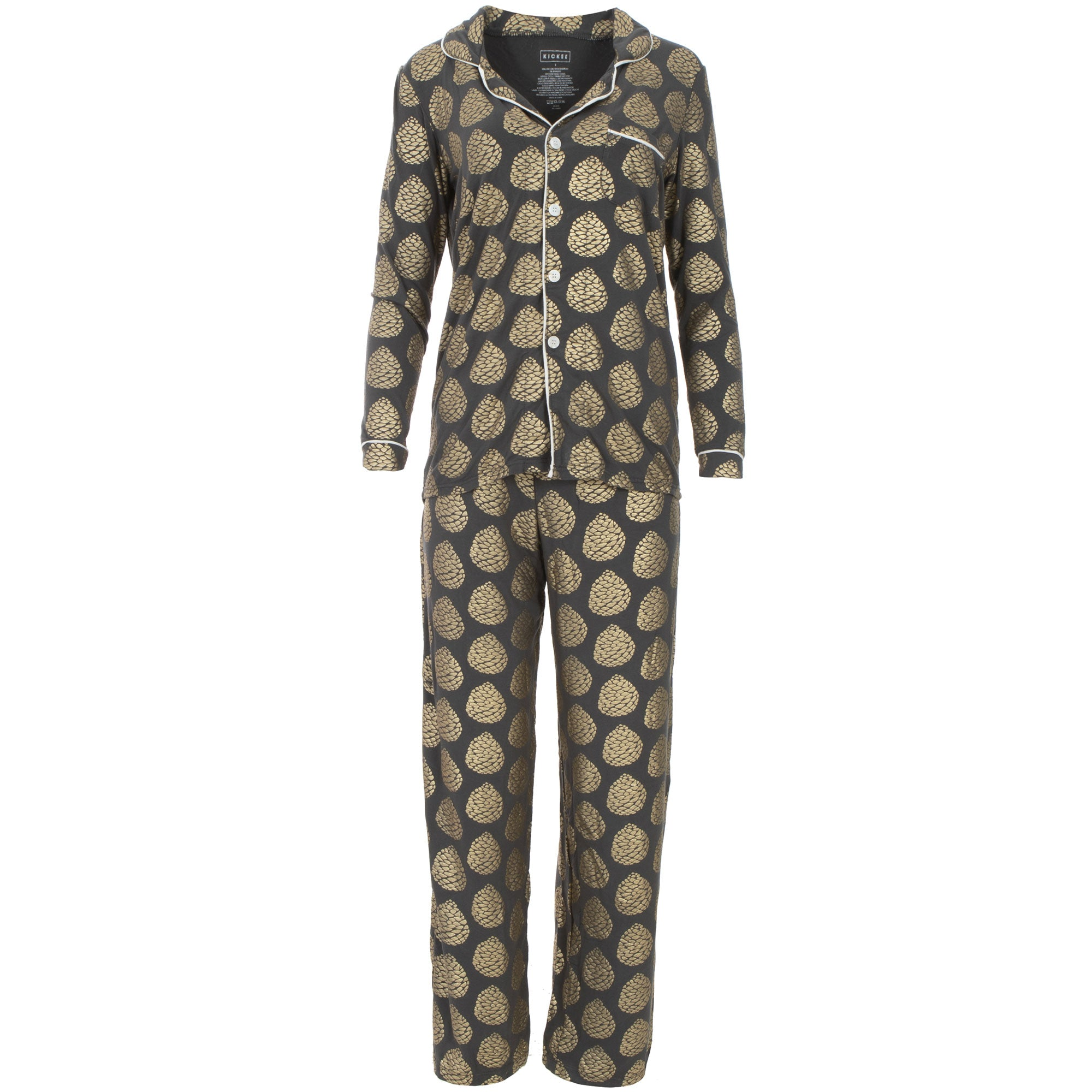 KicKee Pants Womens Collared Pajama Set - Pinecones