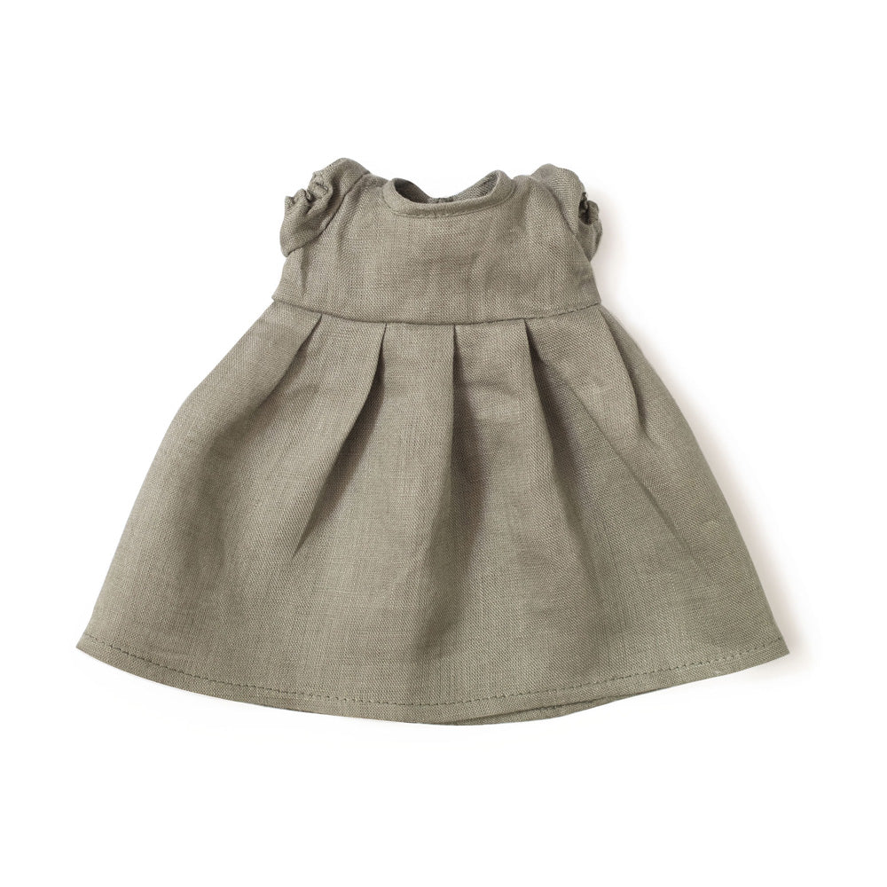 Hazel Village Beech Gray Linen Dress for Dolls