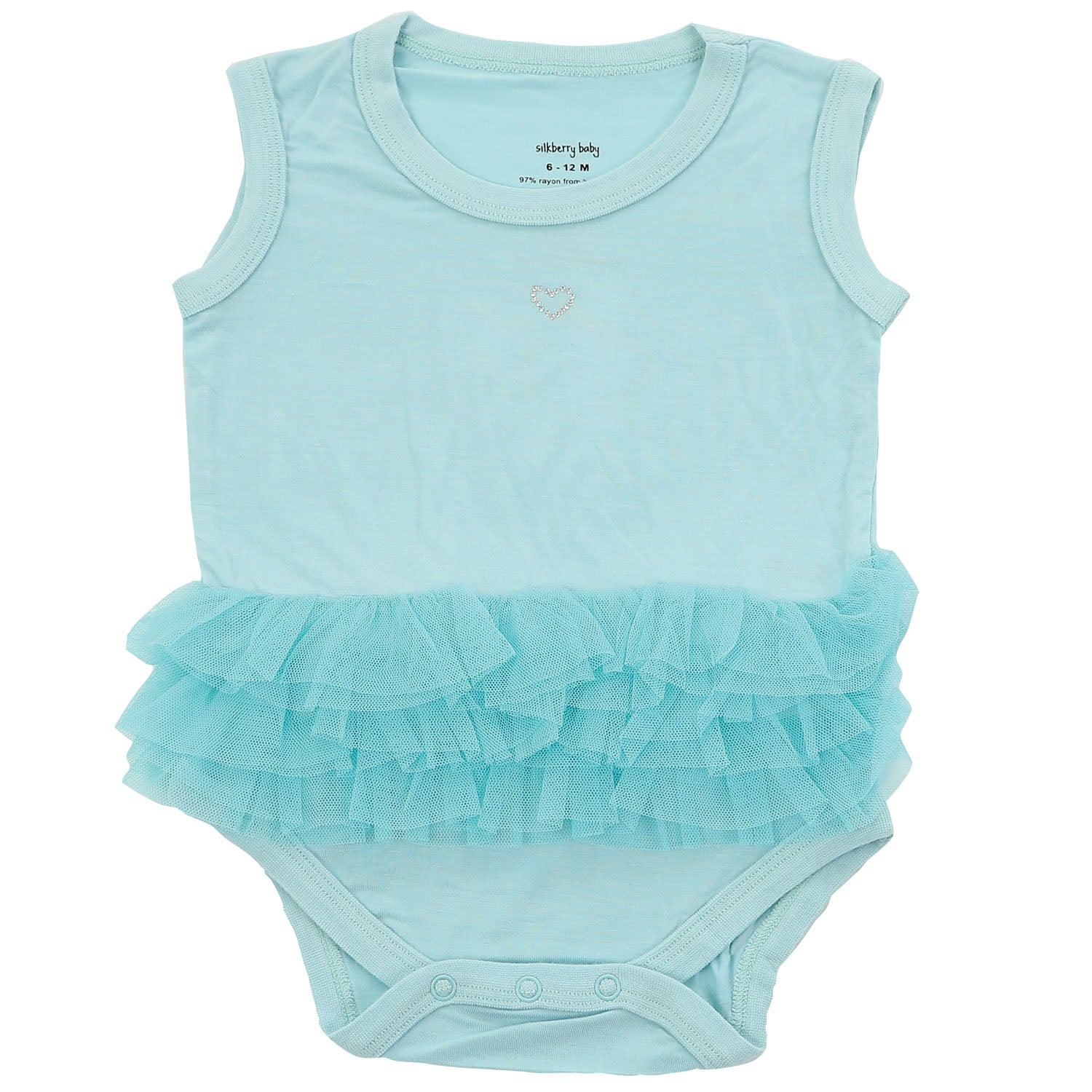 Silkberry Baby Bamboo Sleeveless Onesie with Tulle Ruffle - Pool