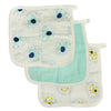 Silkberry Baby Bamboo Muslin Washcloth Set 3 Pack - Elephant Mint Monkey