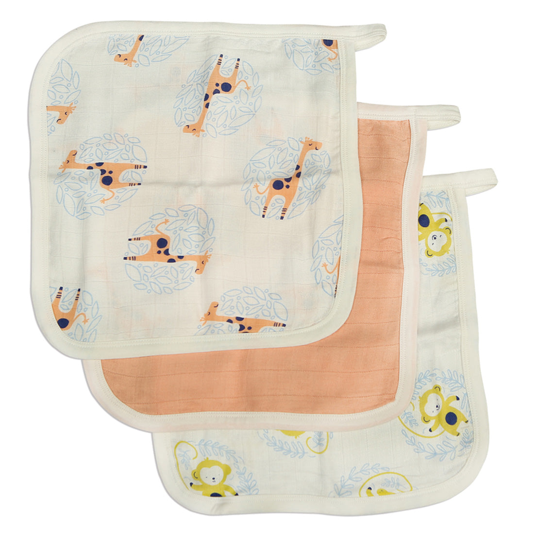 Silkberry Bamboo Muslin Washcloth Set 3 Pack - Giraffe Peach Monkey