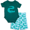 Silkberry Baby Bamboo Short Sleeve Onesie & Short Set ZigZag Croc