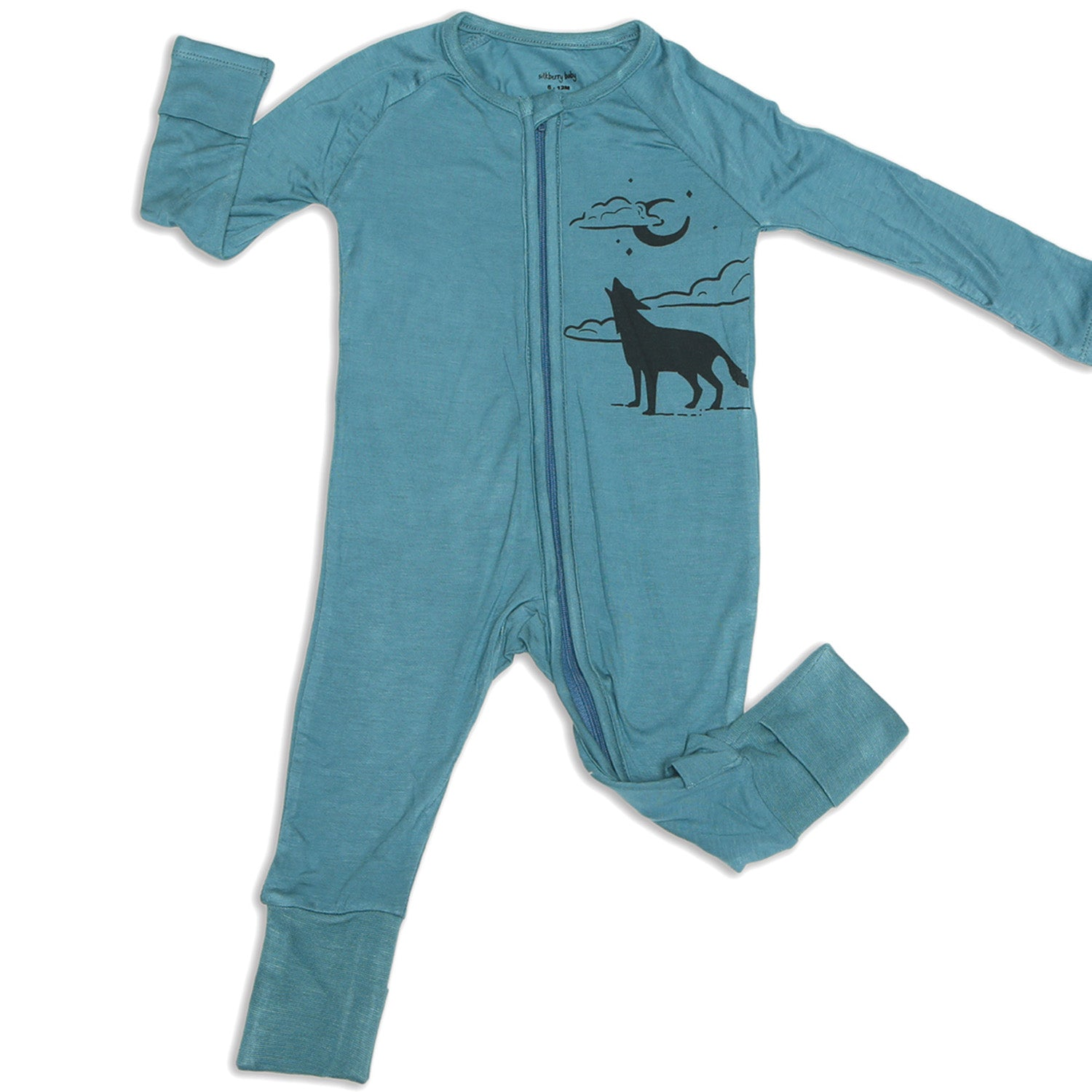 Silkberry Baby Bamboo Long Sleeve Romper w/ Two-way zipper - Blue Forest