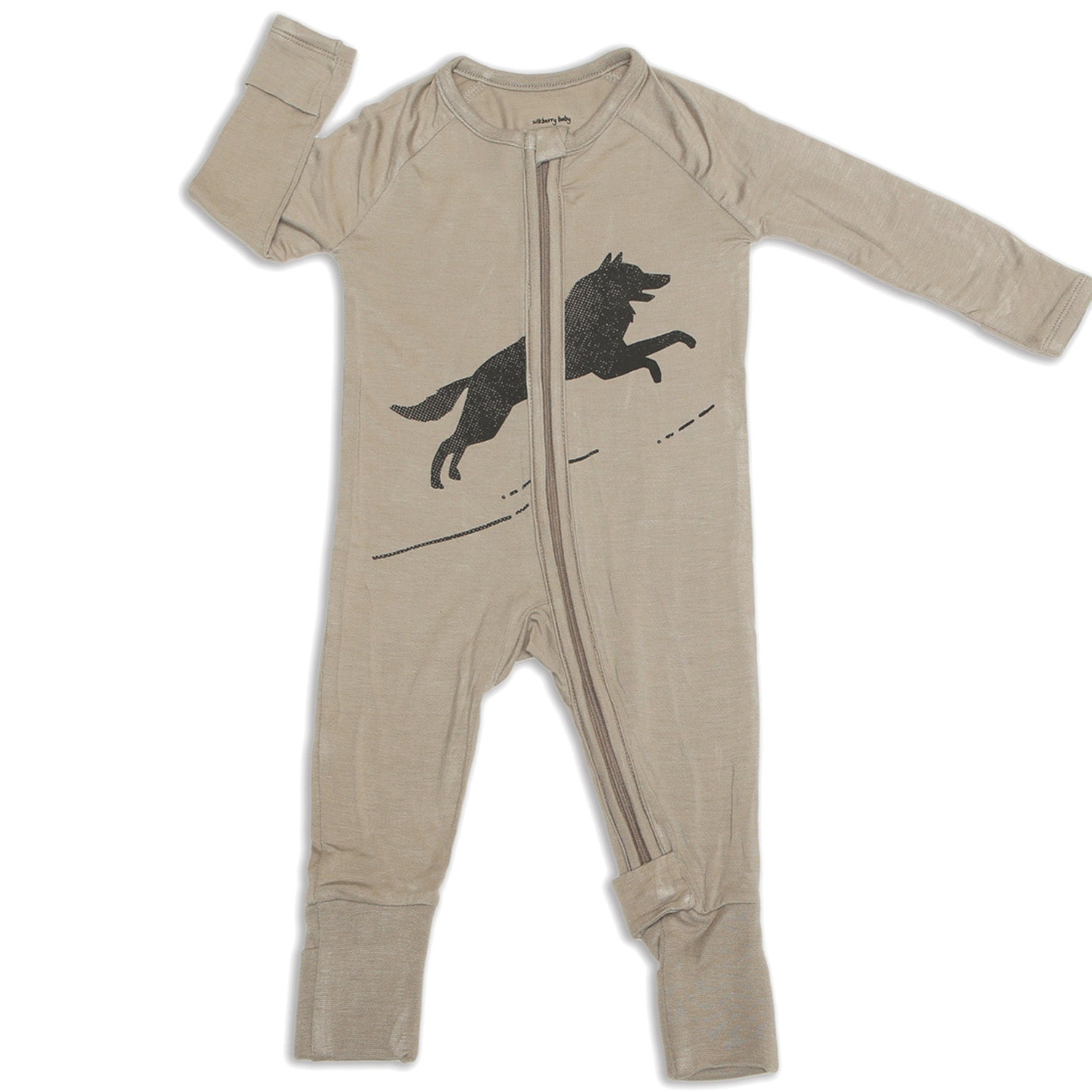 Silkberry Baby Bamboo Long Sleeve Romper w/ Two-way zipper - Mocha