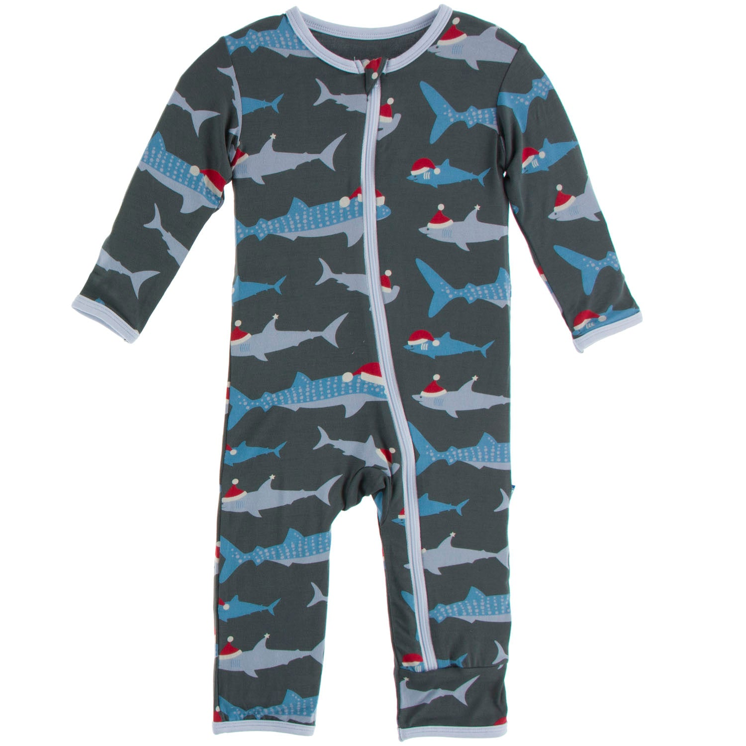 Kickee Pants Coverall - Pewter Santa Sharks