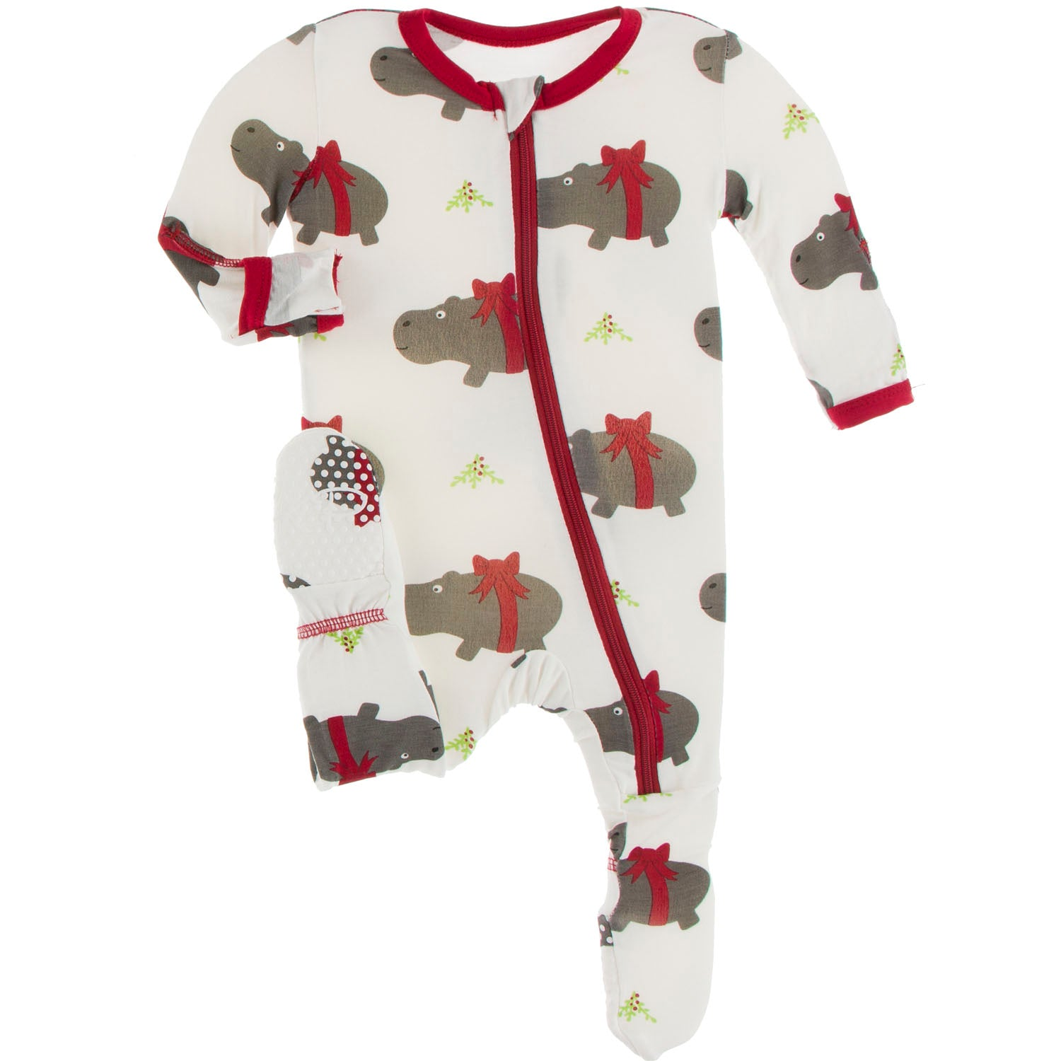 Kickee Pants Footie - Natural Christmas Hippo