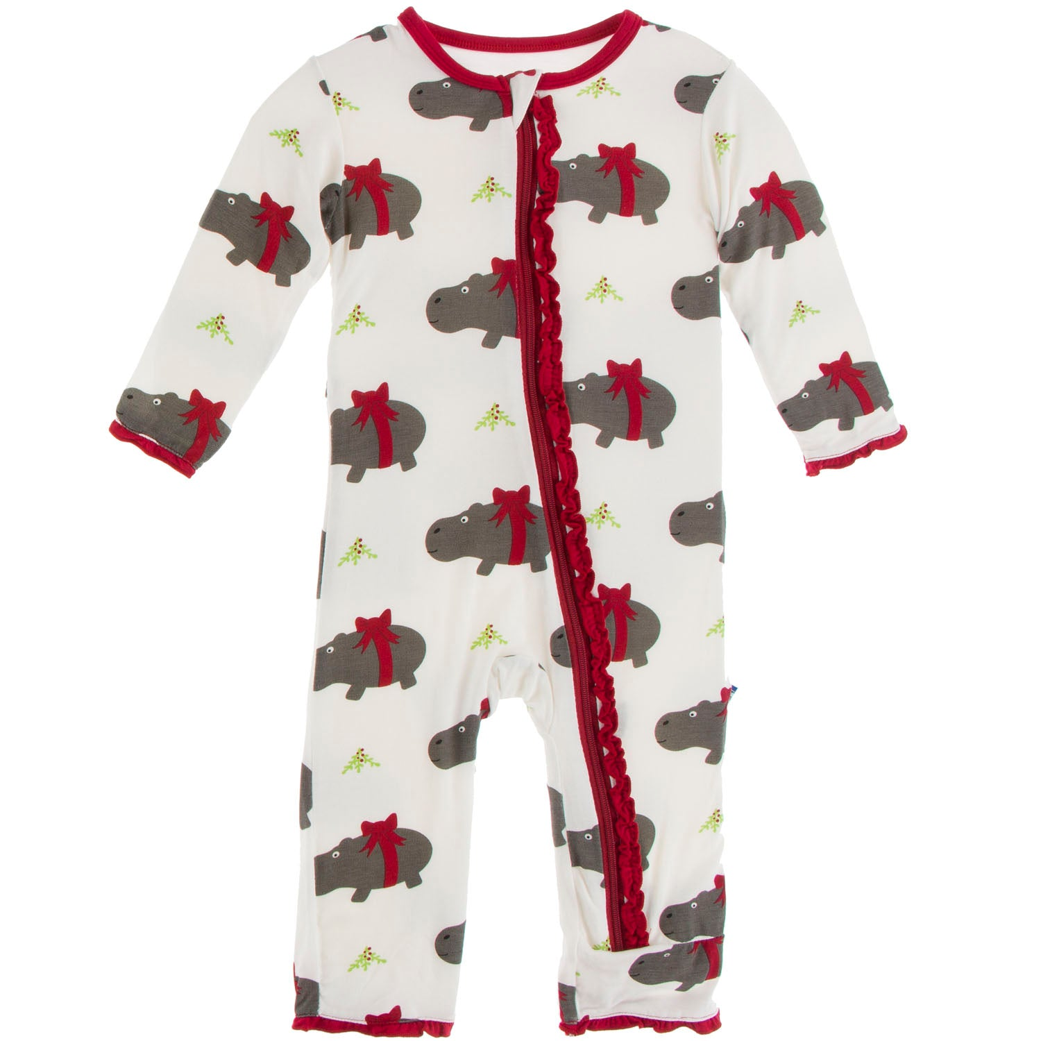 Kickee Pants Muffin Ruffle Coverall - Natural Christmas Hippo
