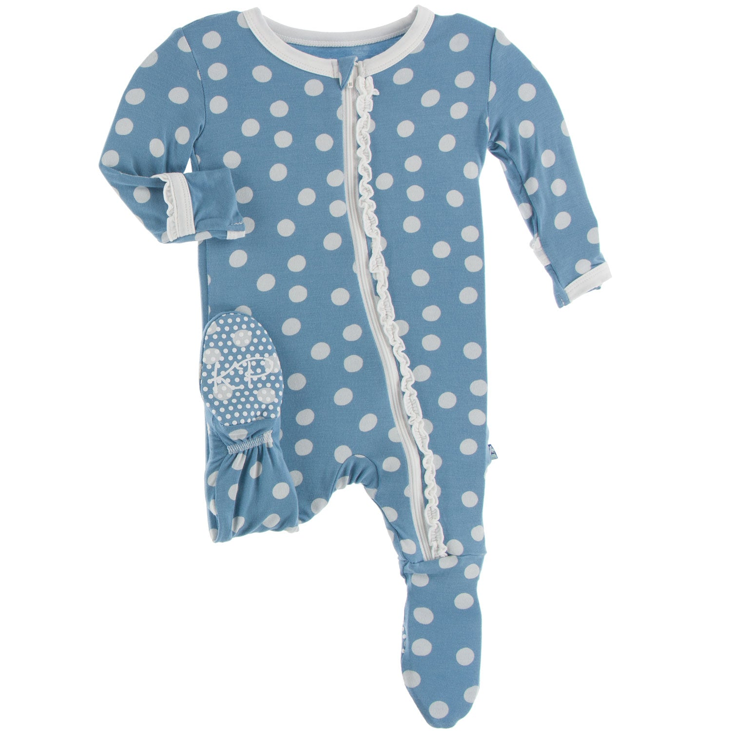 Kickee Pants Muffin Ruffle Footie - Blue Moon Snowballs