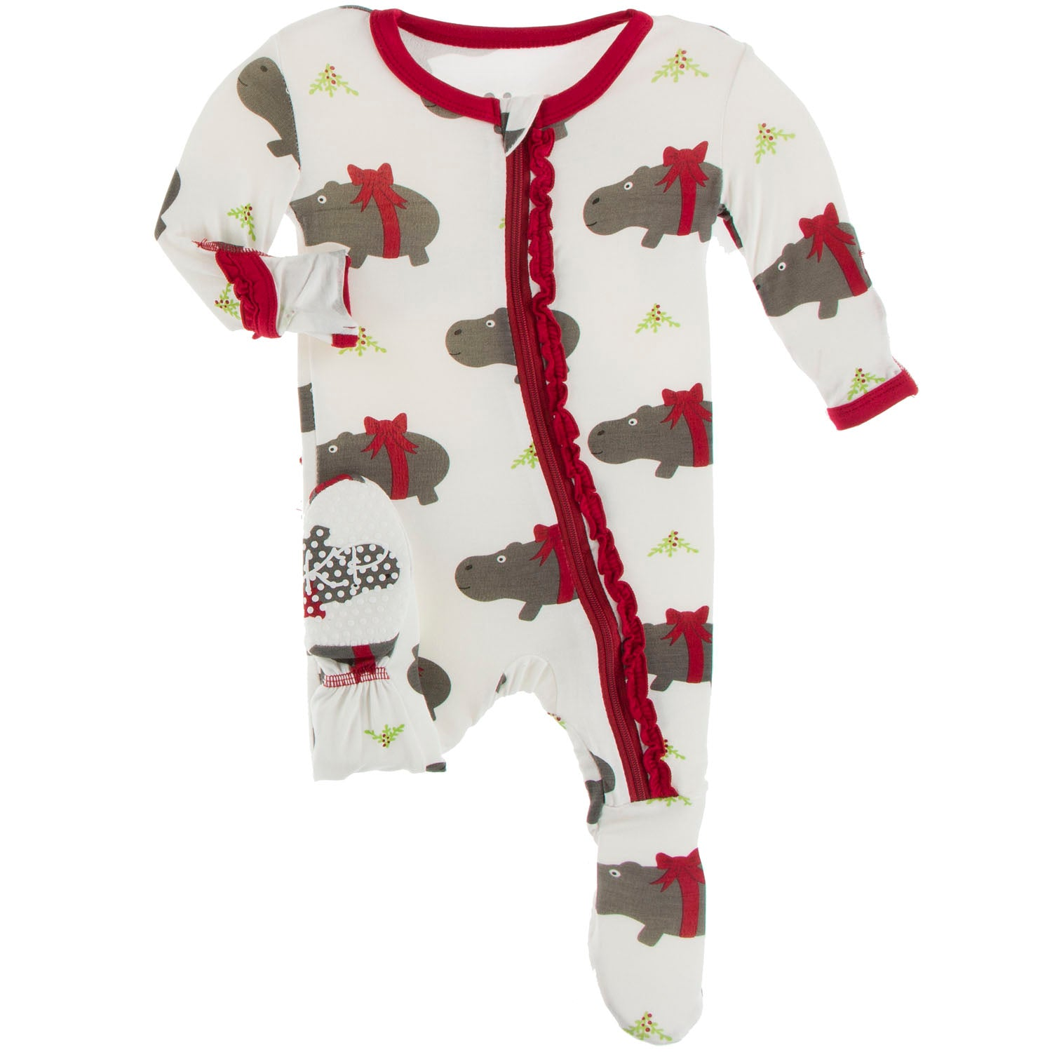 Kickee Pants Muffin Ruffle Footie - Natural Christmas Hippo
