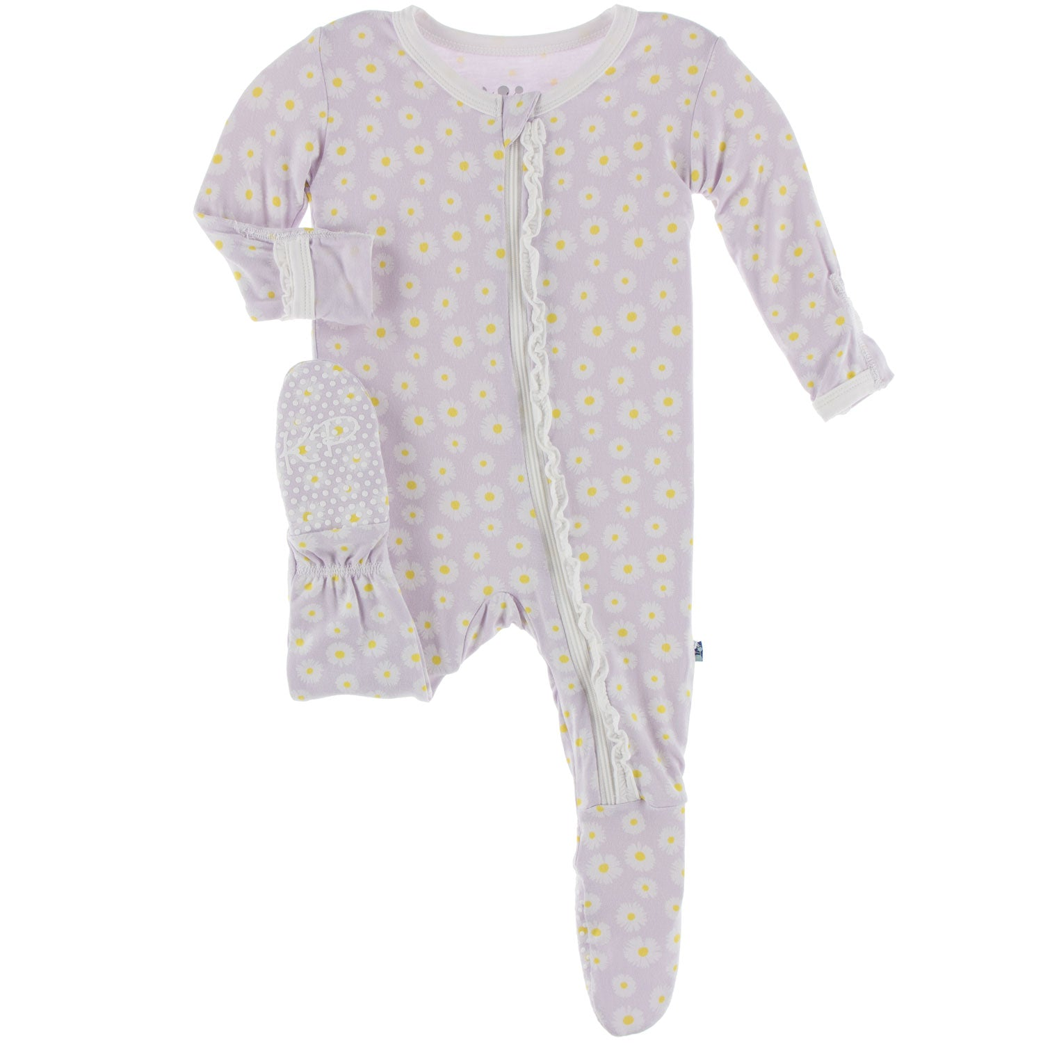 Kickee Pants Muffin Ruffle Footie with Zipper - Thistle Chamomile