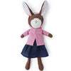 Hazel Village Organic Zoe Rabbit in Clover Pink Jacket and Navy Linen Dress
