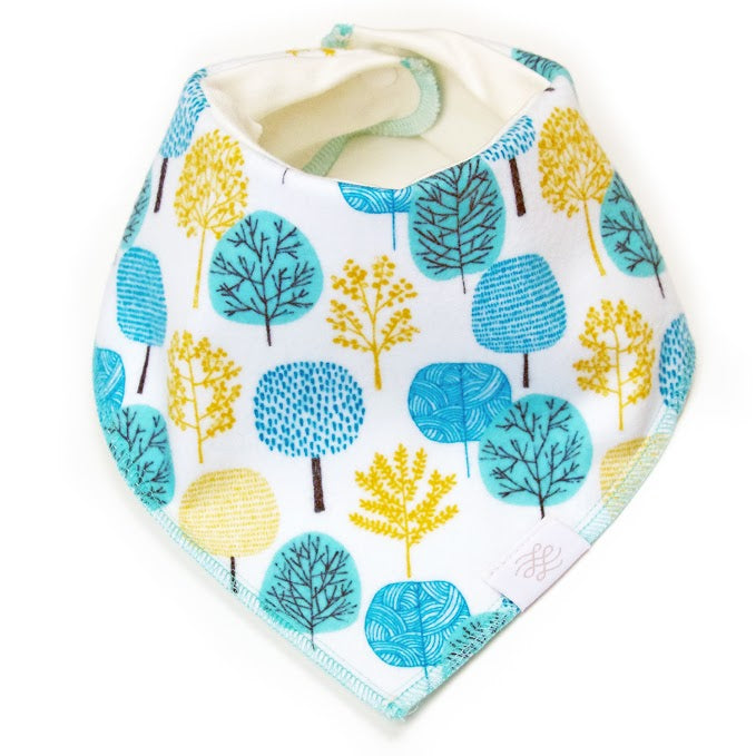 Logan + Lenora Blue Trees Organic Neckerchief Bib