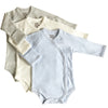 Organic Baby Essentials Kimono Bodysuit 3 Pack (Blue, Cream, Gray)