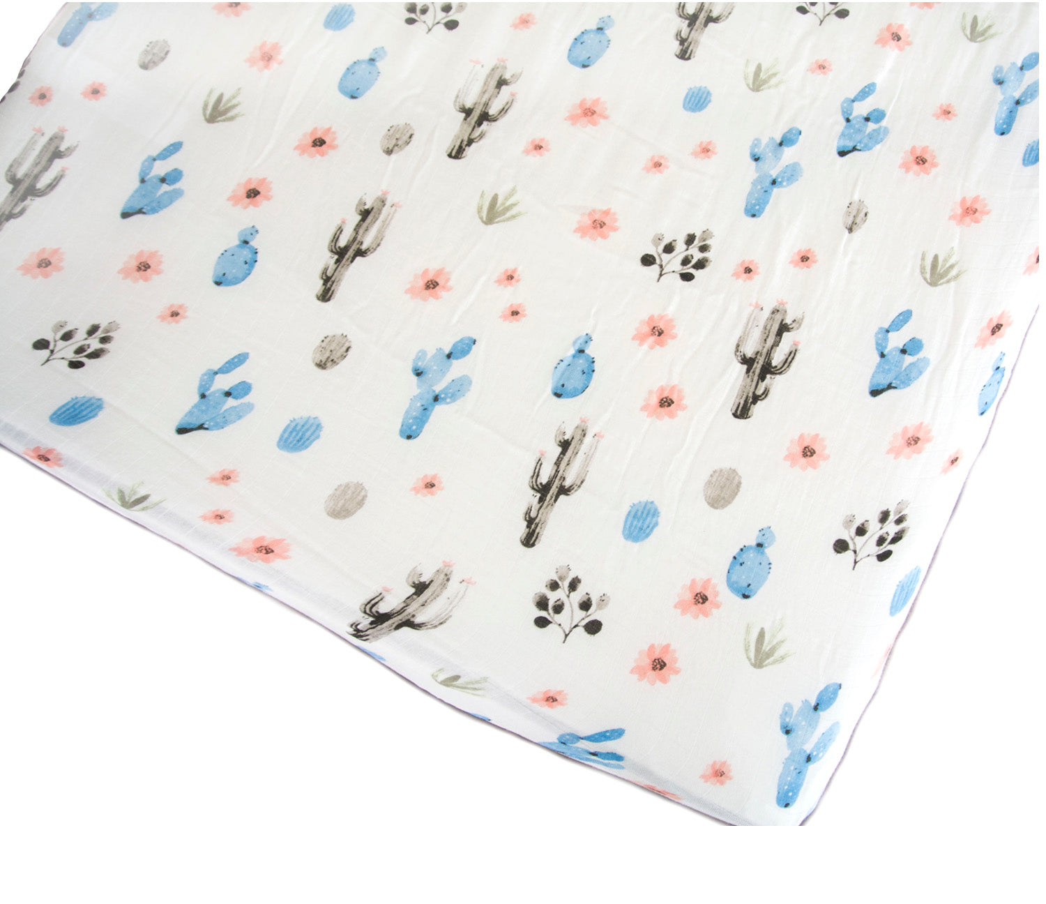 Loulou Lollipop Bamboo Muslin Fitted Crib Sheet - Cactus Floral