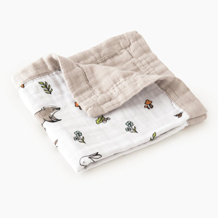 Little Blue Nest Organic Cotton Muslin Comforter Security Blanket - Into the Woods