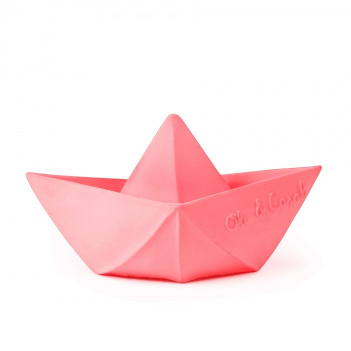 Oli & Carol Natural Rubber Bath Toy Origami Boat Pink