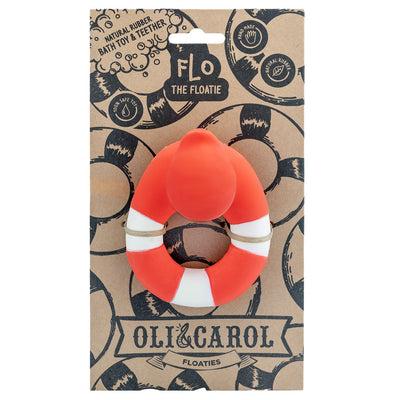 Oli & Carol Natural Rubber Bath Toy - Flo the Floatie Red Orange
