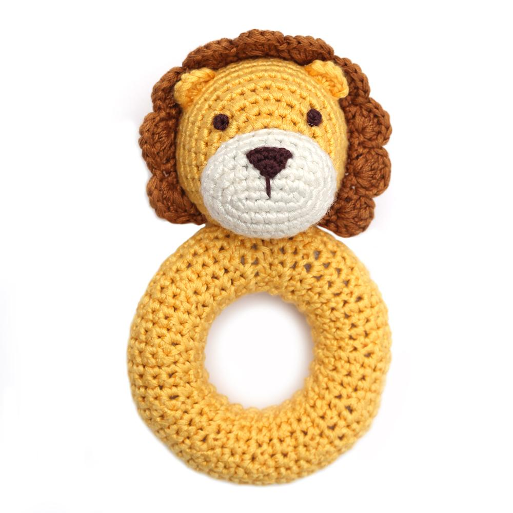 Cheengoo Lion Ring Hand Crocheted Rattle