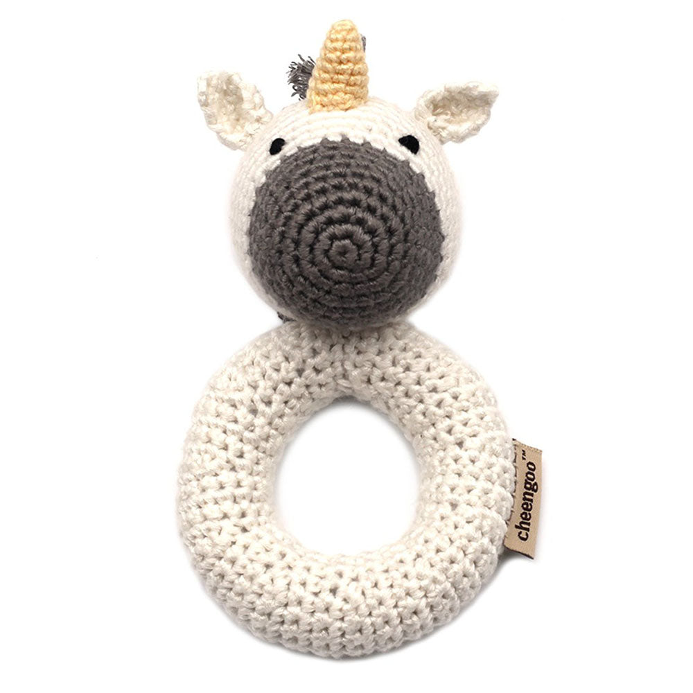 Cheengoo Unicorn Ring Hand Crocheted Rattle