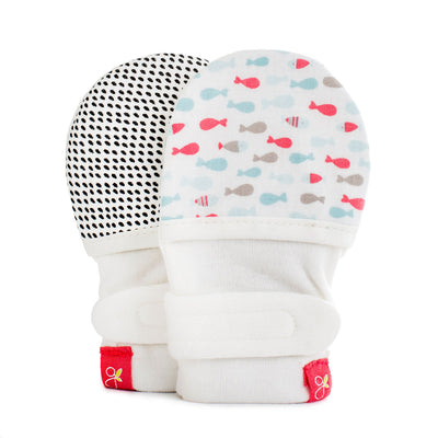 Goumikids Stay On Baby Mittens School of Fish Aqua