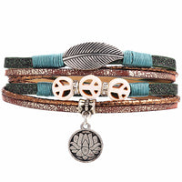 OM Yoga Leather Bracelet