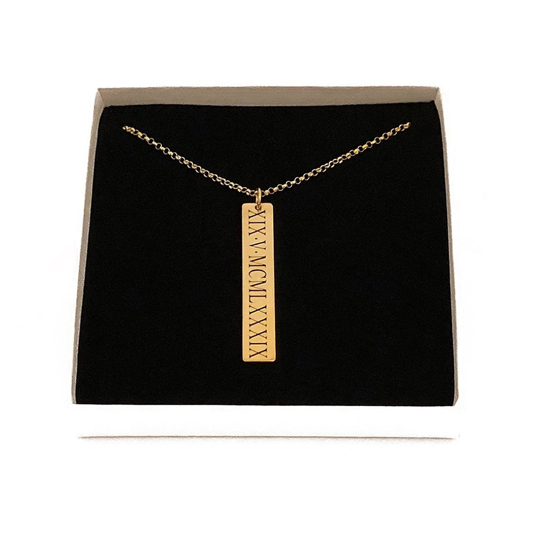 Vertical Roman Numeral Necklace