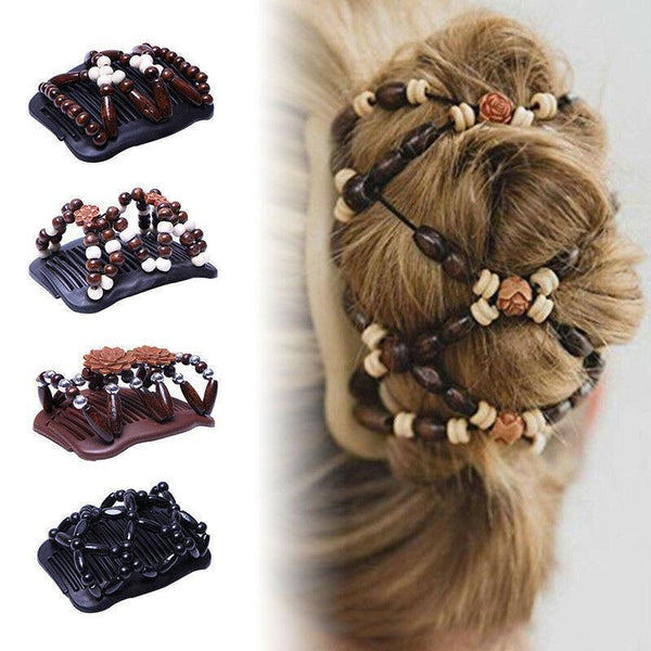 Fashion beautiful hair comb magic ever-changing hairpin wooden beads hair comb