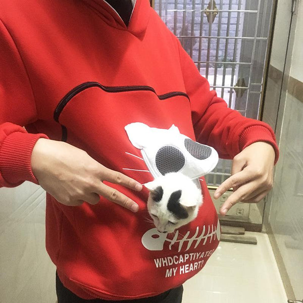 Animal Pouch Hood Tops Sweatshirt