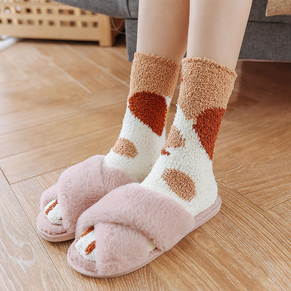 2pairs Winter Color Cute Cat Claws Home Socks(BUY 1 GET 2ND 10% OFF)