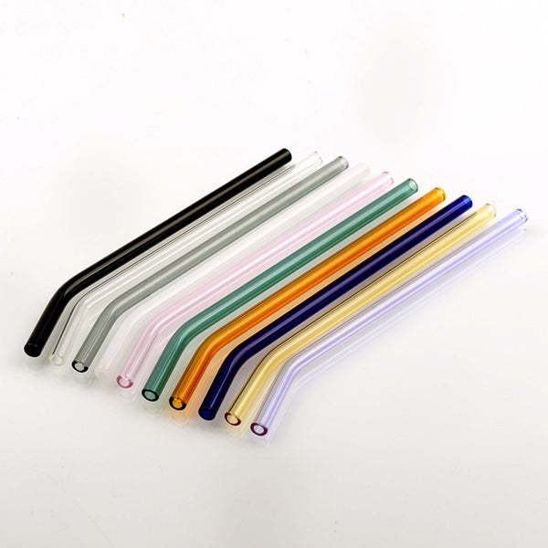 Transparent Glass Elbow Straw Color Heat-resistant Juice Drink Straw 10pcs
