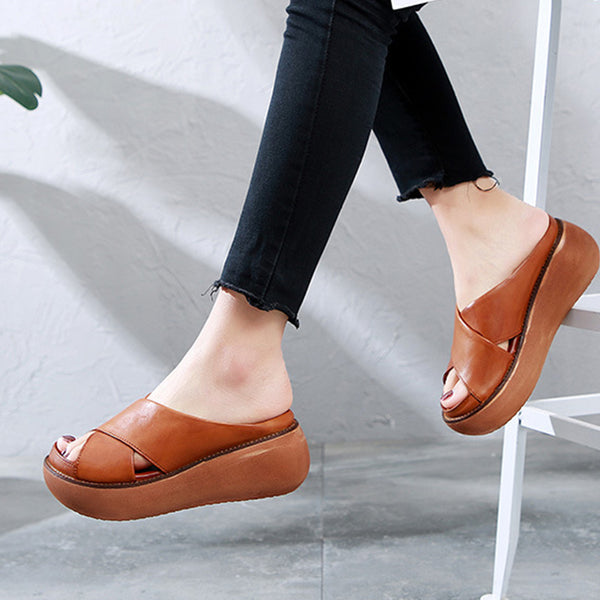 Comfy Soft Leather Platform Thick Heel Beach Sandal Slippers