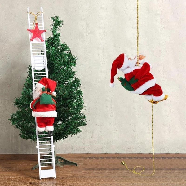 Lovely Christmas Santa Claus Electric Climb Ladder Hanging Decoration