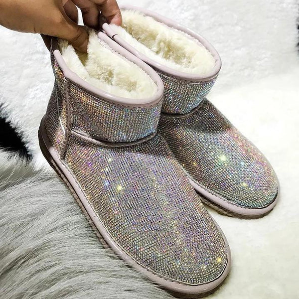 Rhinestone Full Diamond Waterproof Warm Boots