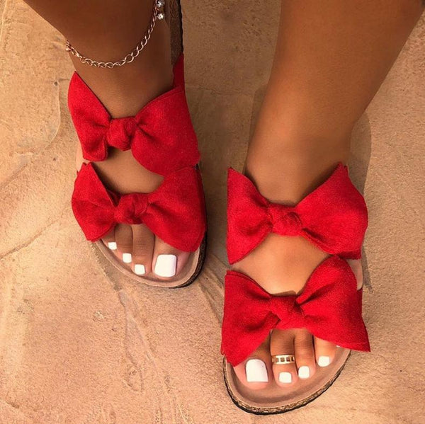 Casual Women's Plus Size Summer Bow Sandals