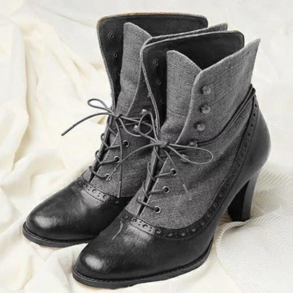 Women Lace-Up Artificial Pu Round Toe Boots